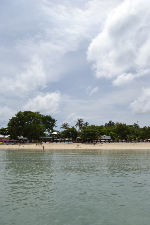 Vista de dentro d'água (ultra rasa) pra praia em que ficamos